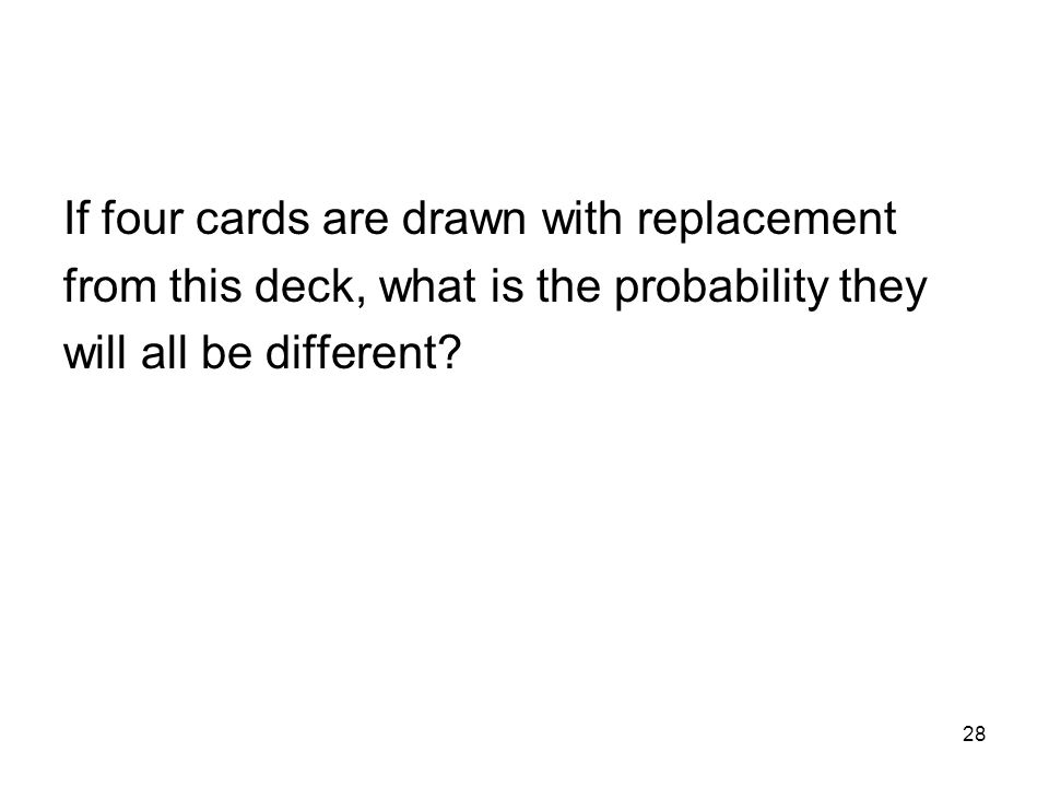 28 If four cards are drawn with replacement from this deck, what is the probability they will all be different