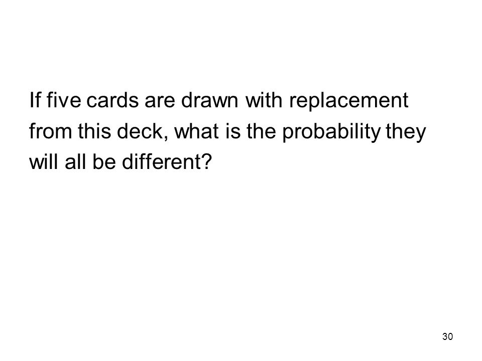 30 If five cards are drawn with replacement from this deck, what is the probability they will all be different