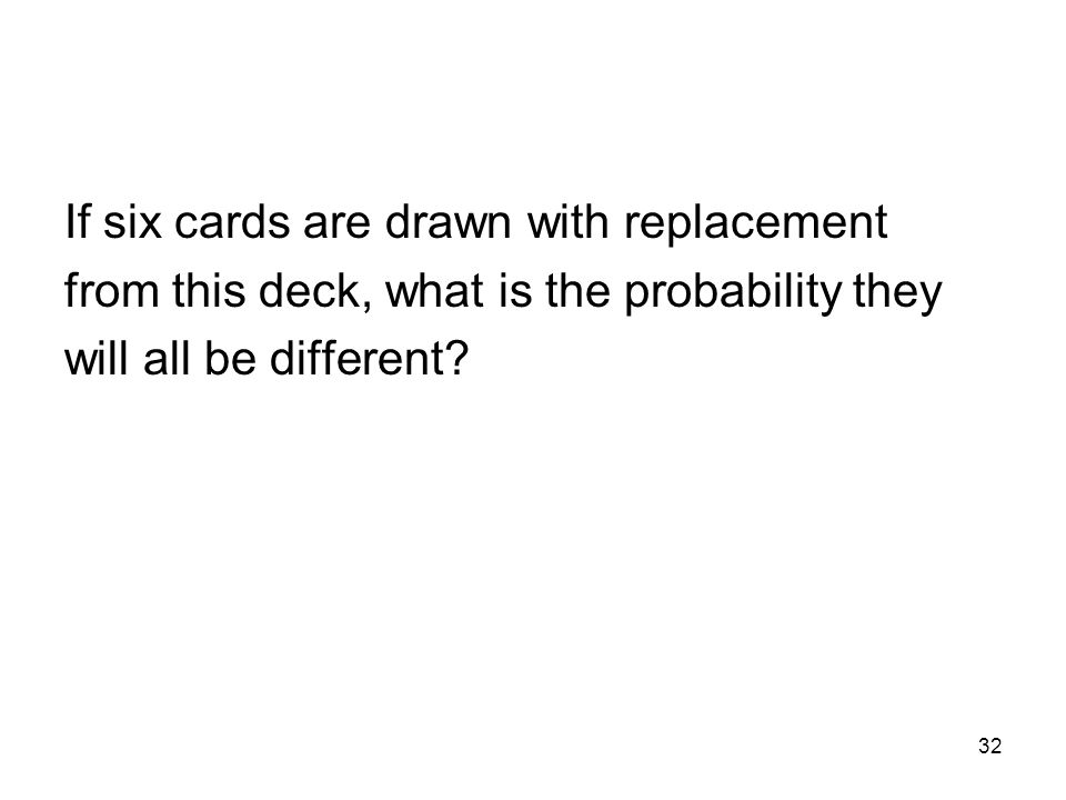 32 If six cards are drawn with replacement from this deck, what is the probability they will all be different