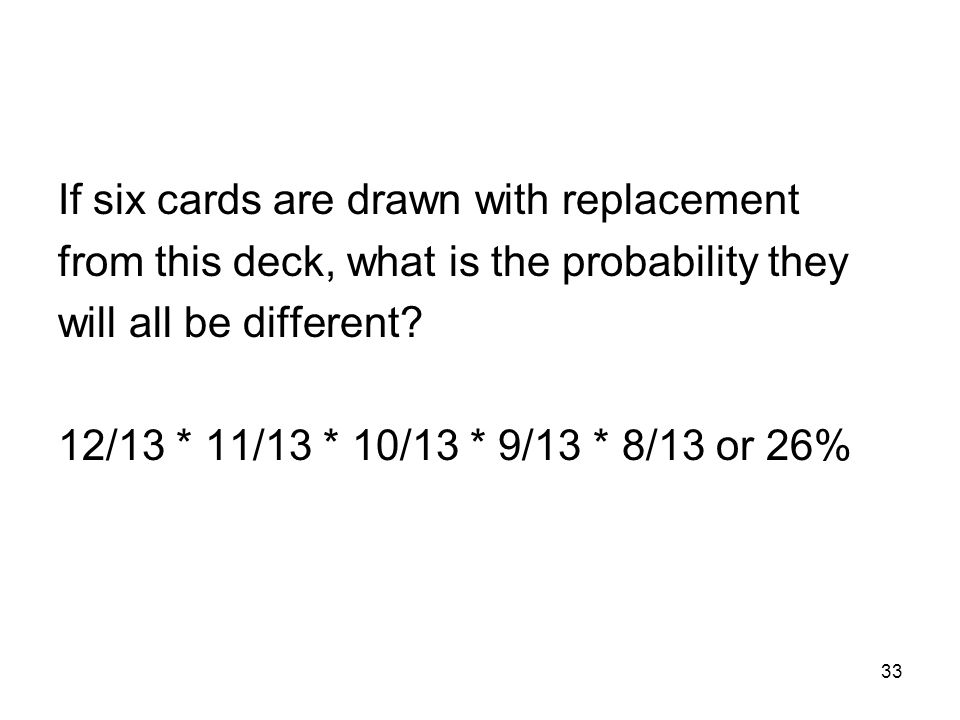 33 If six cards are drawn with replacement from this deck, what is the probability they will all be different.