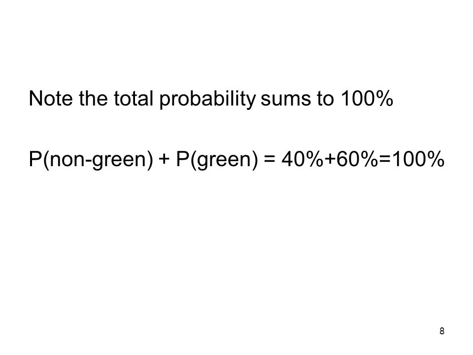8 Note the total probability sums to 100% P(non-green) + P(green) = 40%+60%=100%