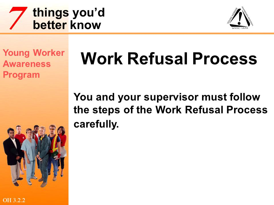 Young Worker Awareness Program things you'd better know Work Refusal Process You and your supervisor must follow the steps of the Work Refusal Process