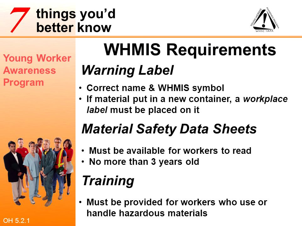 Young Worker Awareness Program things you'd better know WHMIS Requirements Warning Label Material Safety Data Sheets Training Correct name & WHMIS sym