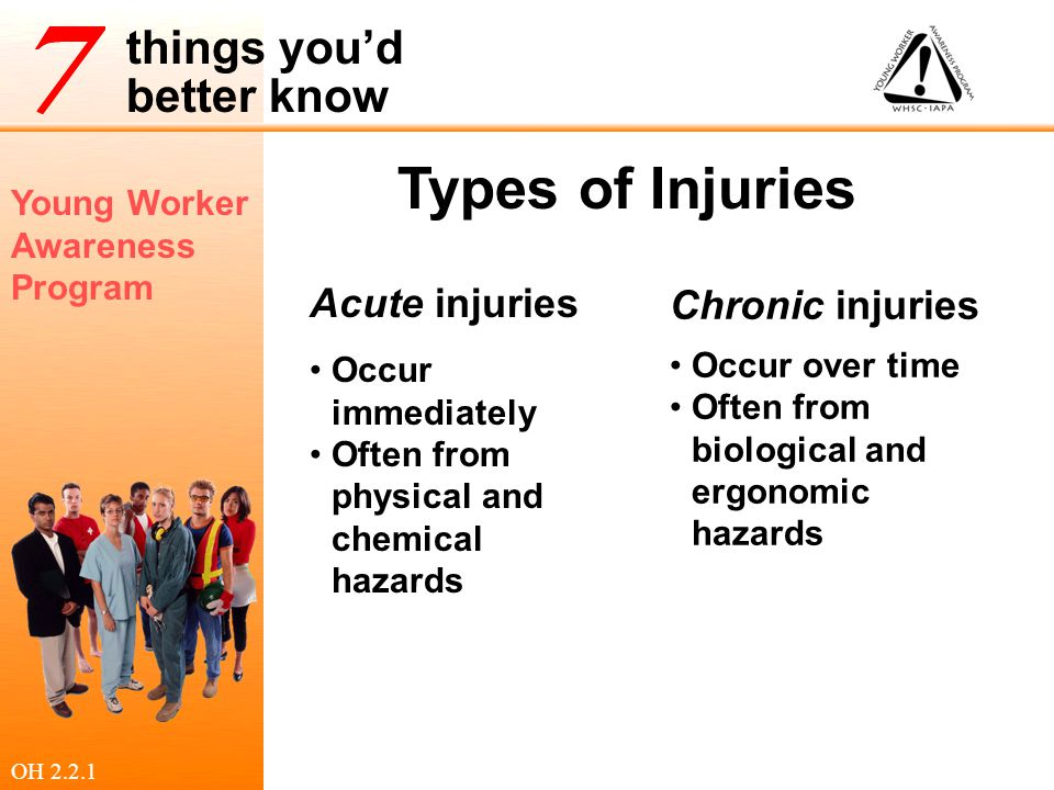 Young Worker Awareness Program things you'd better know Controlling Hazards Physical Controls Operational Controls Administrative Controls Protective Equipment and Facilities Guards, ventilation, 'lock out' systems Rules for 'how' work is done the Dos and Don'ts Rules for how long/often workers can be exposed to a hazard Safety glasses, boots, gloves Emergency eye wash stations OH 2.2.2