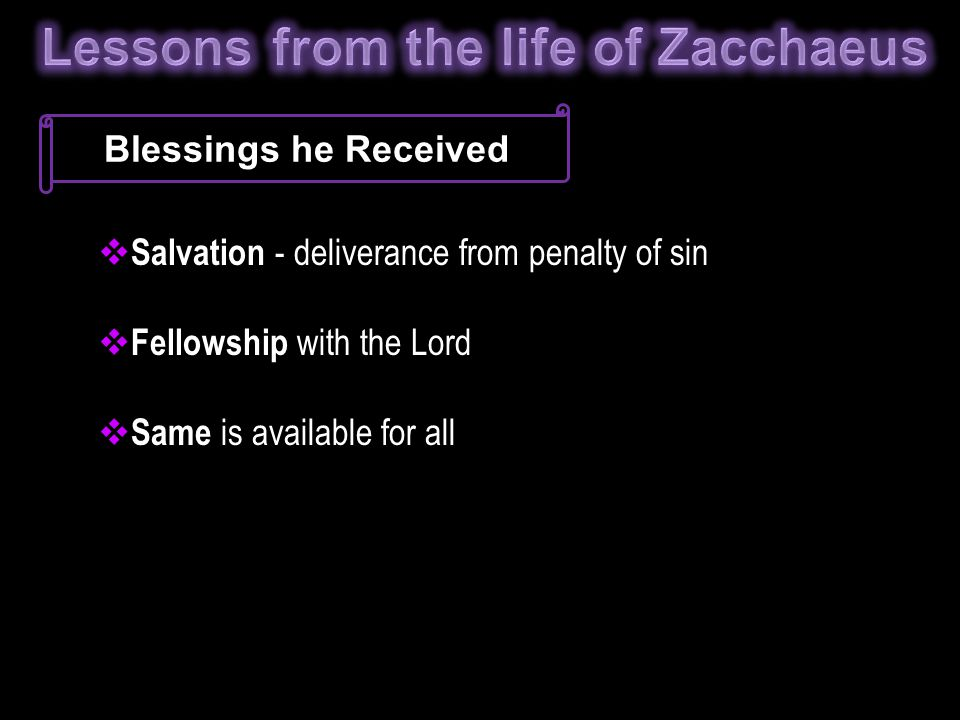 Blessings he Received  Salvation - deliverance from penalty of sin  Fellowship with the Lord  Same is available for all