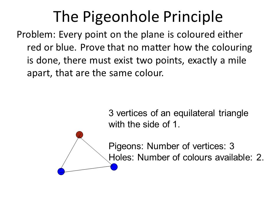 The Pigeonhole Principle Problem: Every point on the plane is coloured either red or blue. Prove that no matter how the colouring is done, there must
