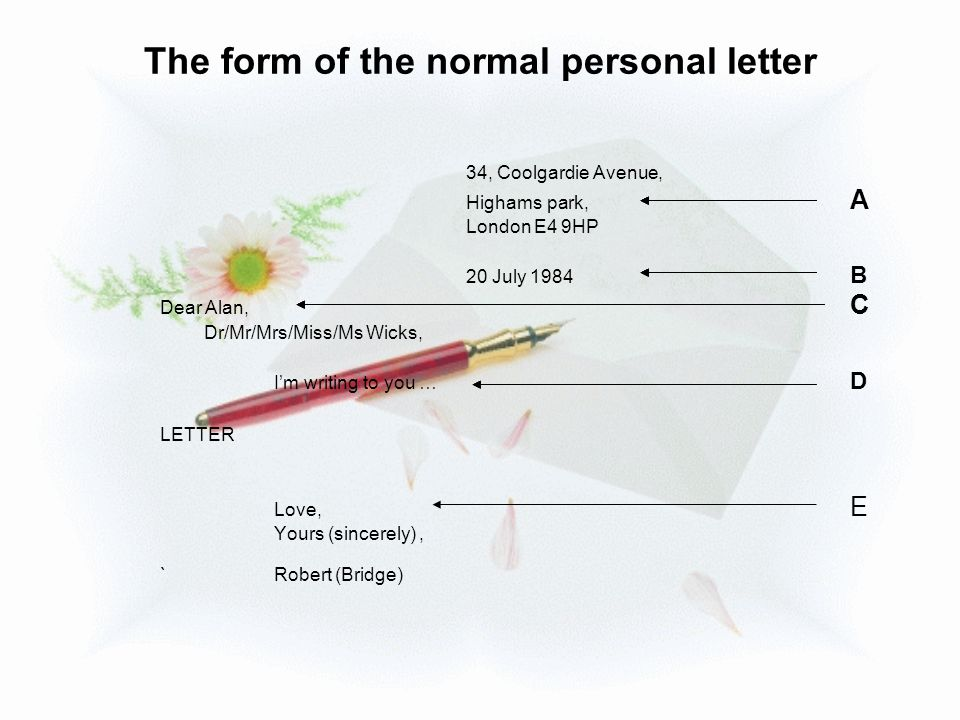 The form of the normal personal letter 34, Coolgardie Avenue, Highams park, A London E4 9HP 20 July 1984 B Dear Alan, C Dr/Mr/Mrs/Miss/Ms Wicks, I'm w