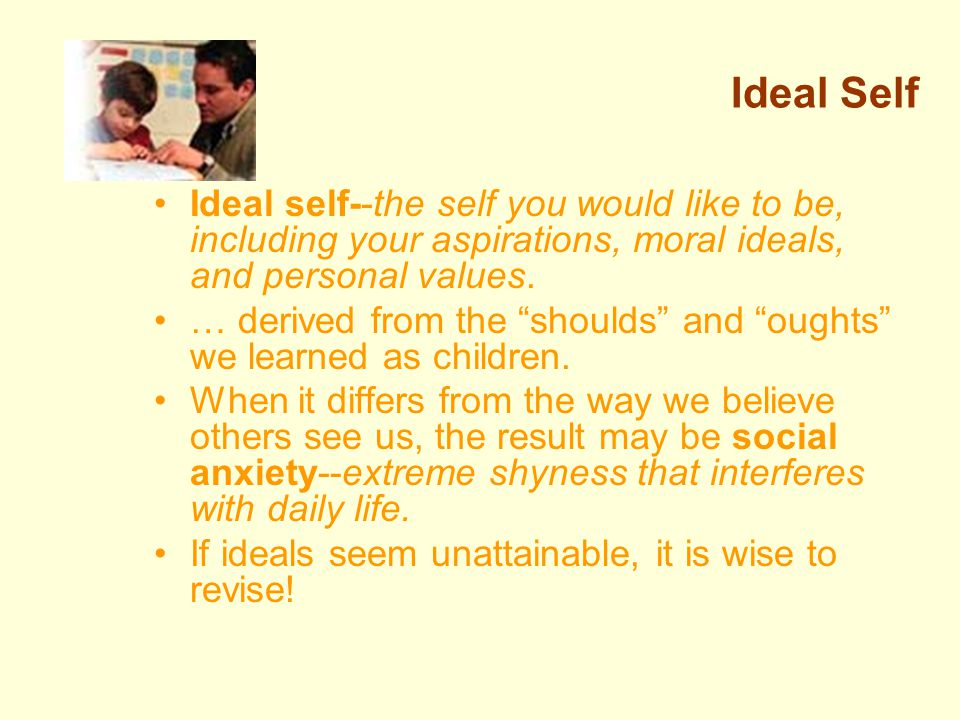 Ideal Self Ideal self--the self you would like to be, including your aspirations, moral ideals, and personal values.