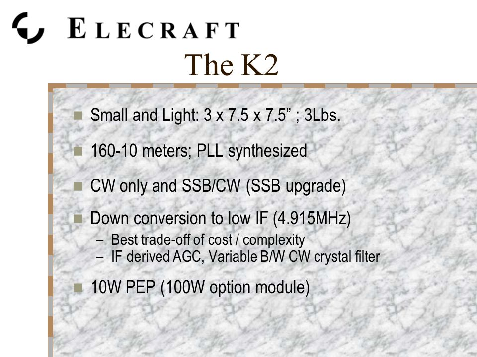 The K2 Small and Light: 3 x 7.5 x 7.5 ; 3Lbs.