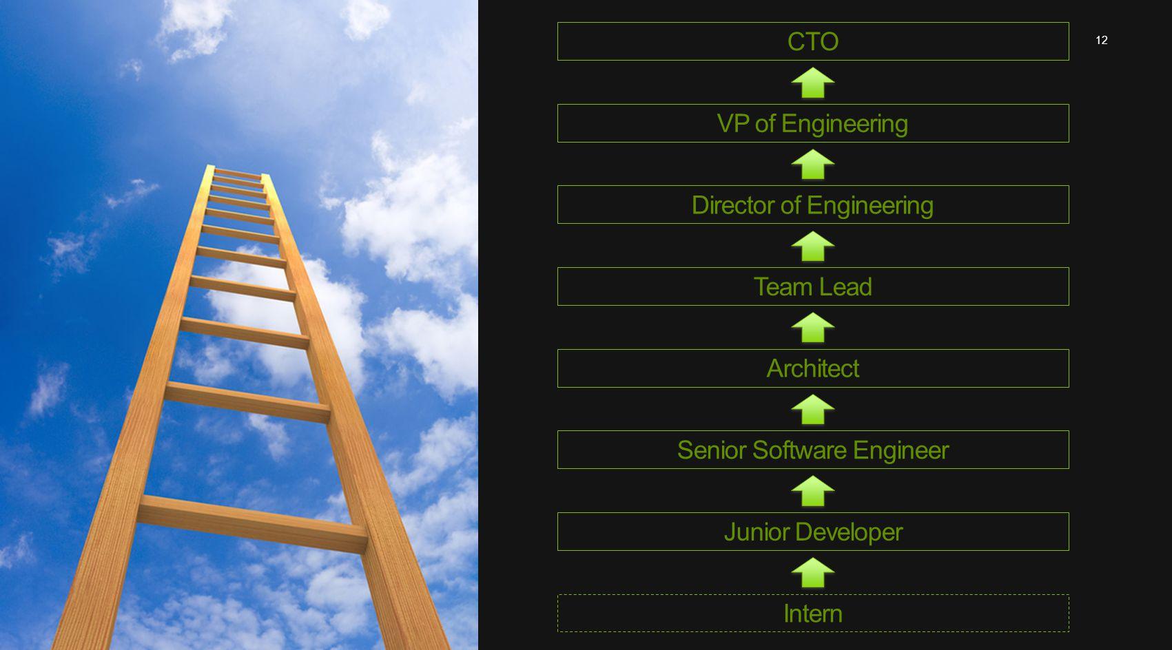 12 Intern Junior DeveloperSenior Software EngineerArchitectTeam LeadDirector of EngineeringVP of EngineeringCTO
