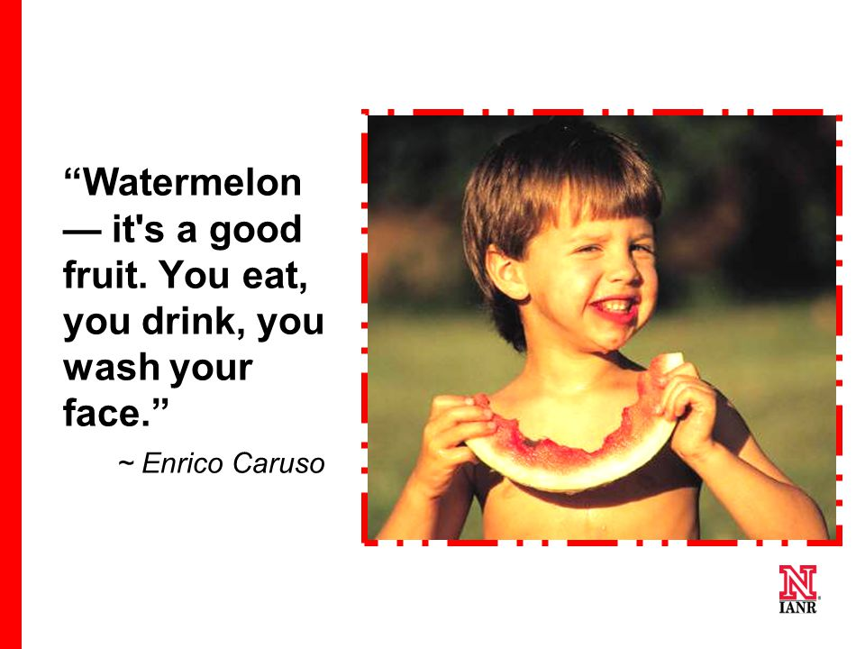 """Watermelon — it's a good fruit. You eat, you drink, you wash your face."" ~ Enrico Caruso"