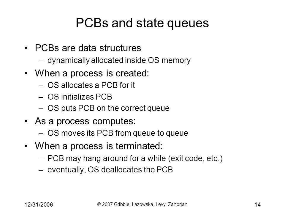 12/31/2006 © 2007 Gribble, Lazowska, Levy, Zahorjan 14 PCBs and state queues PCBs are data structures –dynamically allocated inside OS memory When a process is created: –OS allocates a PCB for it –OS initializes PCB –OS puts PCB on the correct queue As a process computes: –OS moves its PCB from queue to queue When a process is terminated: –PCB may hang around for a while (exit code, etc.) –eventually, OS deallocates the PCB