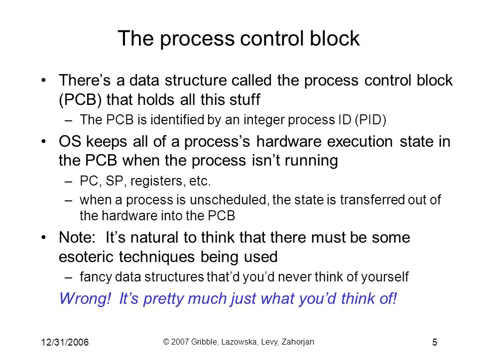 12/31/2006 © 2007 Gribble, Lazowska, Levy, Zahorjan 5 There's a data structure called the process control block (PCB) that holds all this stuff –The PCB is identified by an integer process ID (PID) OS keeps all of a process's hardware execution state in the PCB when the process isn't running –PC, SP, registers, etc.