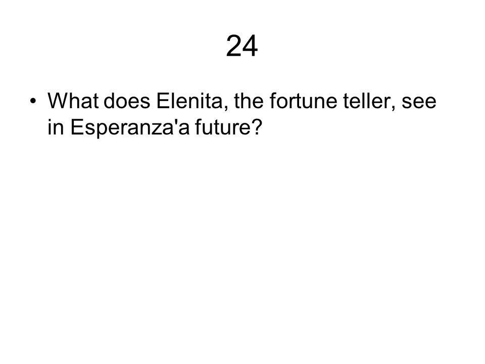 24 What does Elenita, the fortune teller, see in Esperanza a future
