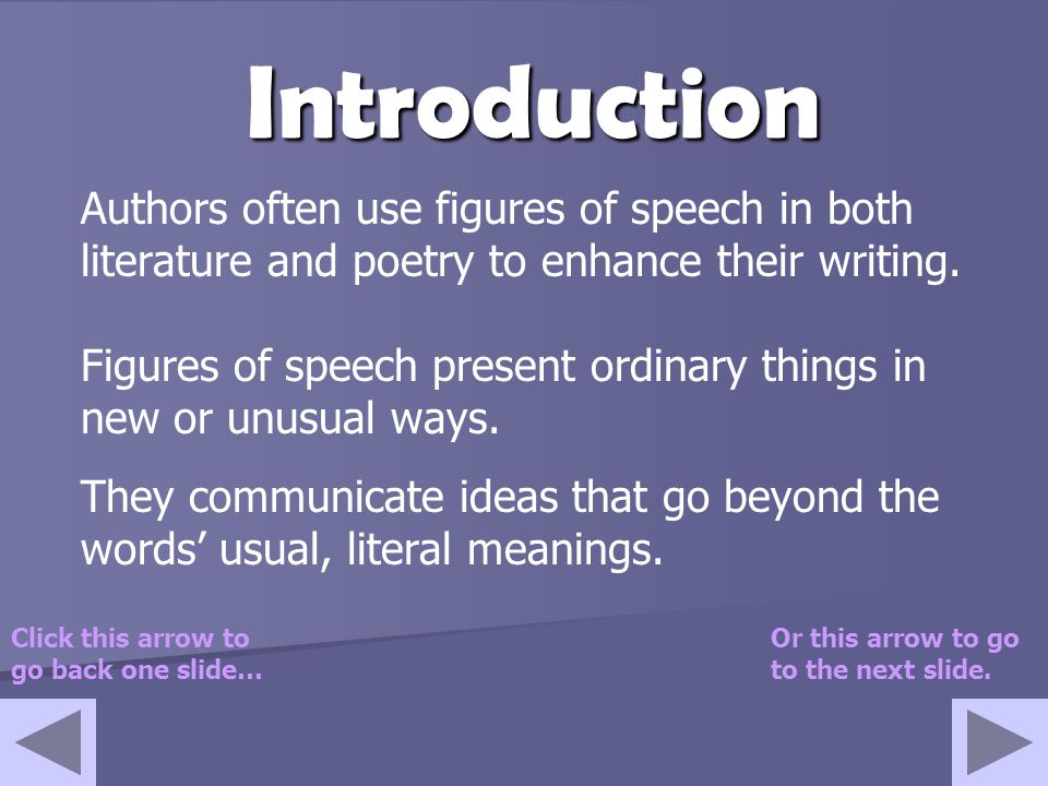 Figures of Speech Introducing… Created by: Ms. Jones Click on the arrow to go to the next slide.