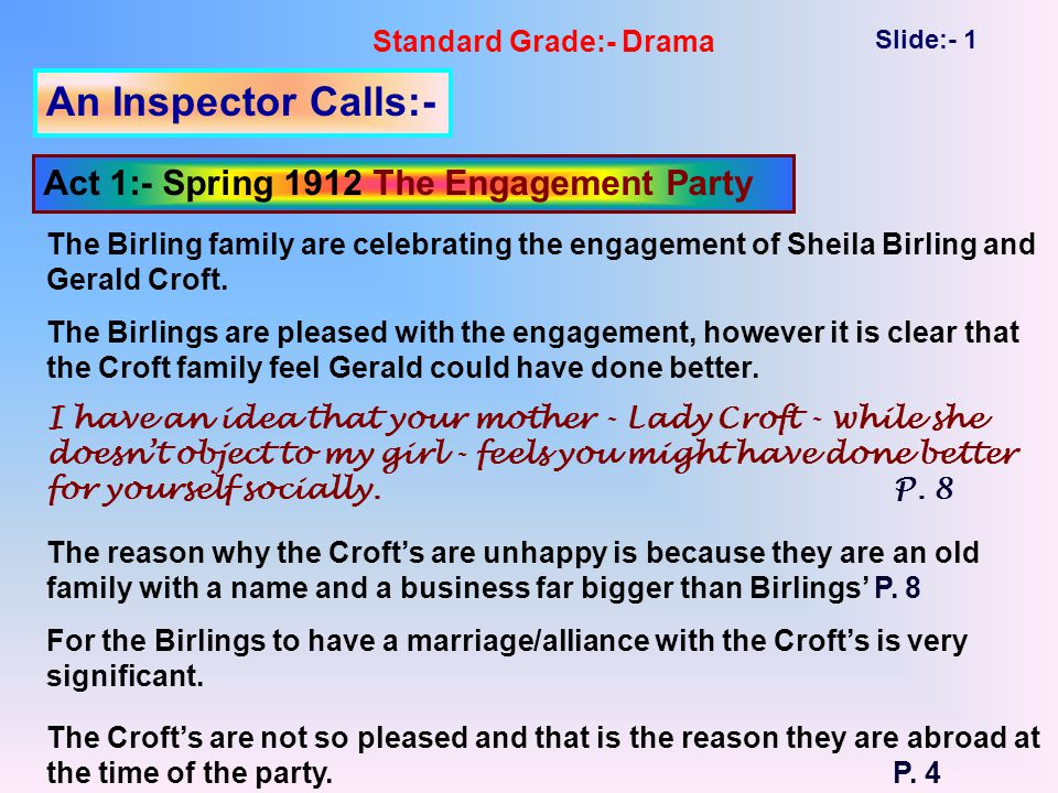 Standard Grade:- Drama Slide:- 1 An Inspector Calls:- Act 1:- Spring 1912 The Engagement Party The Birling family are celebrating the engagement of Sheila Birling and Gerald Croft.