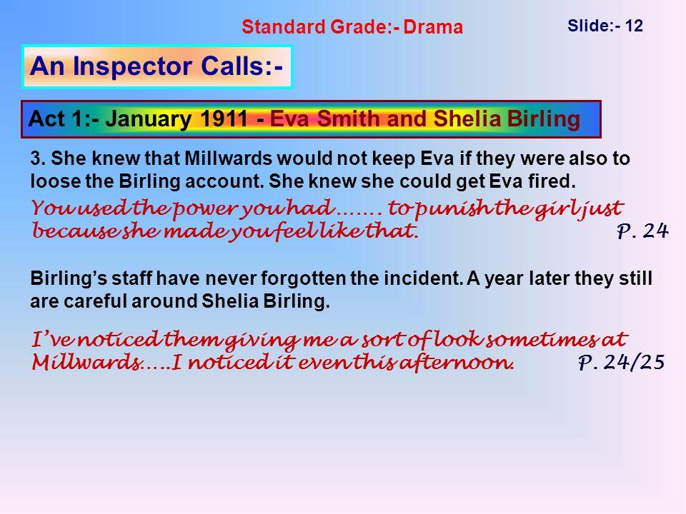 Standard Grade:- Drama Slide:- 12 An Inspector Calls:- Act 1:- January 1911 - Eva Smith and Shelia Birling 3.