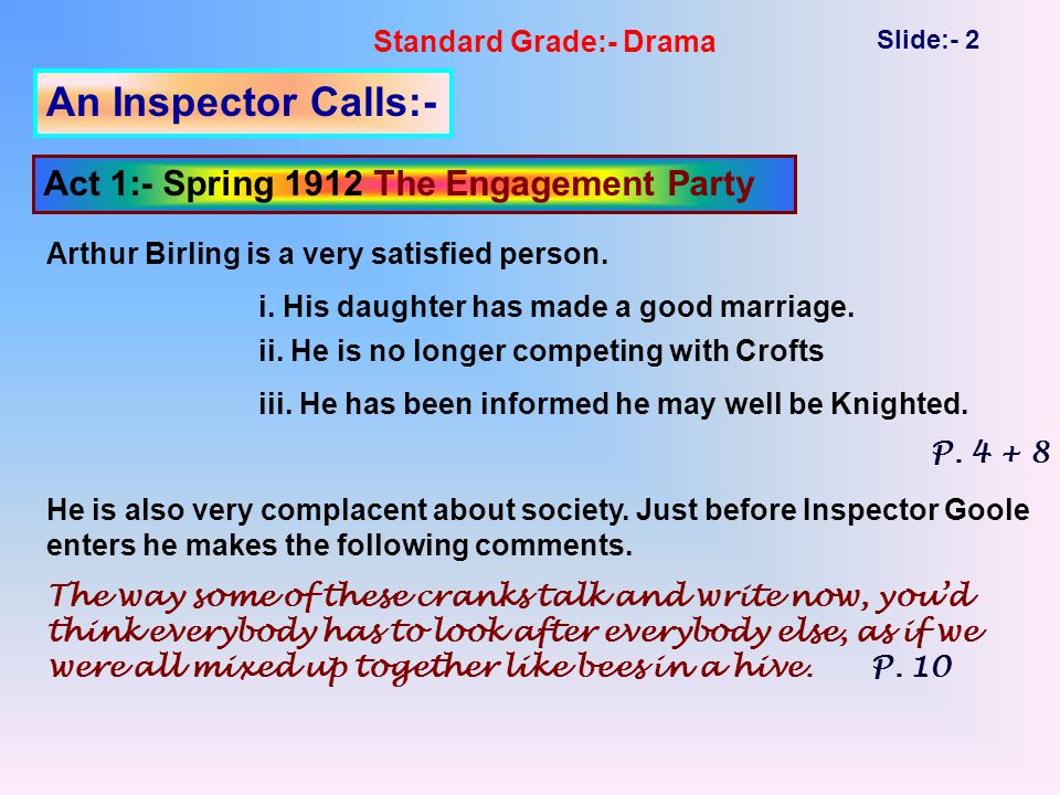 Standard Grade:- Drama Slide:- 13 An Inspector Calls:- Act 1:- Spring 1912 - Themes and Act 1 At the end of Act 1 two important themes have been introduced:- i.