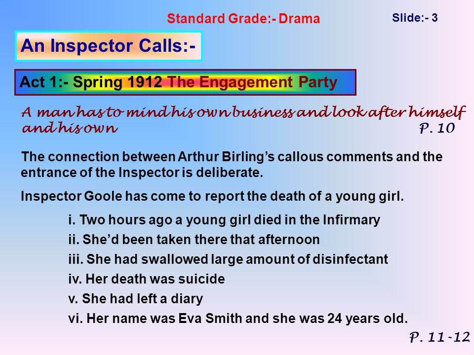 Standard Grade:- Drama Slide:- 3 An Inspector Calls:- Act 1:- Spring 1912 The Engagement Party A man has to mind his own business and look after himself and his own P.