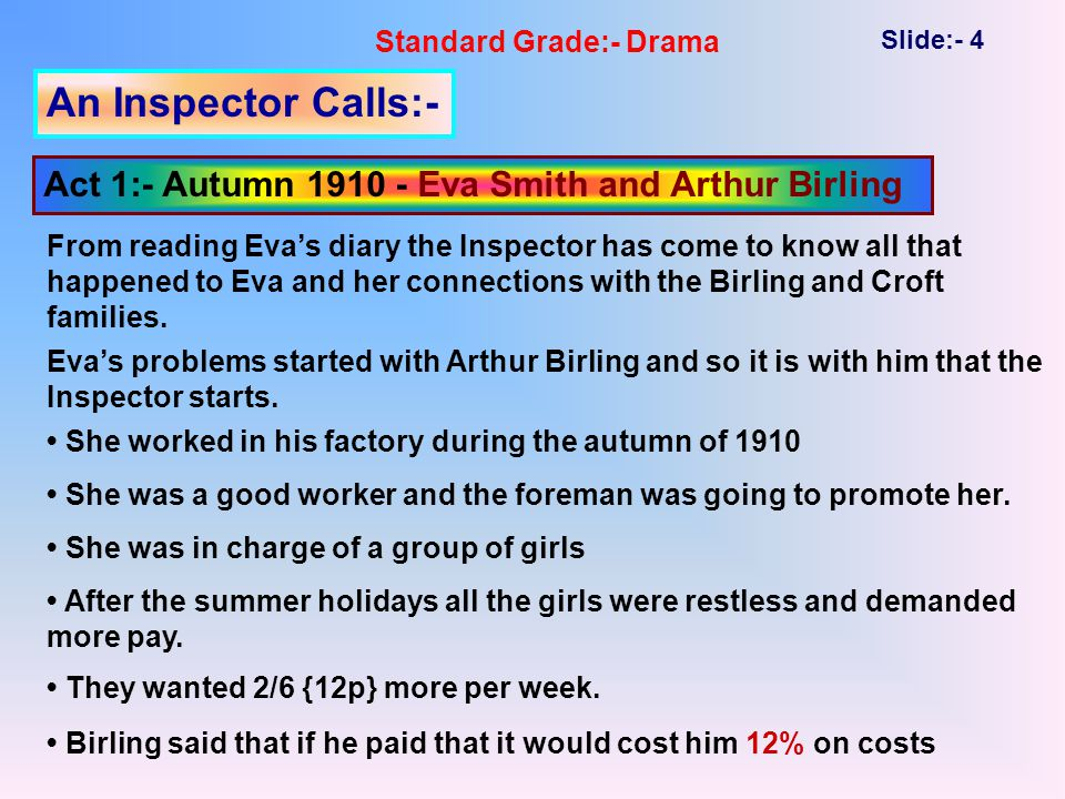 Standard Grade:- Drama Slide:- 4 An Inspector Calls:- Act 1:- Autumn 1910 - Eva Smith and Arthur Birling From reading Eva's diary the Inspector has come to know all that happened to Eva and her connections with the Birling and Croft families.