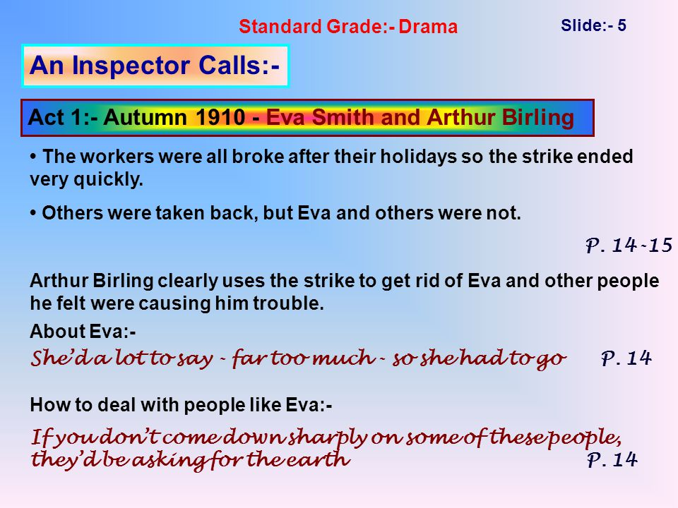 Standard Grade:- Drama Slide:- 5 An Inspector Calls:- Act 1:- Autumn 1910 - Eva Smith and Arthur Birling The workers were all broke after their holidays so the strike ended very quickly.