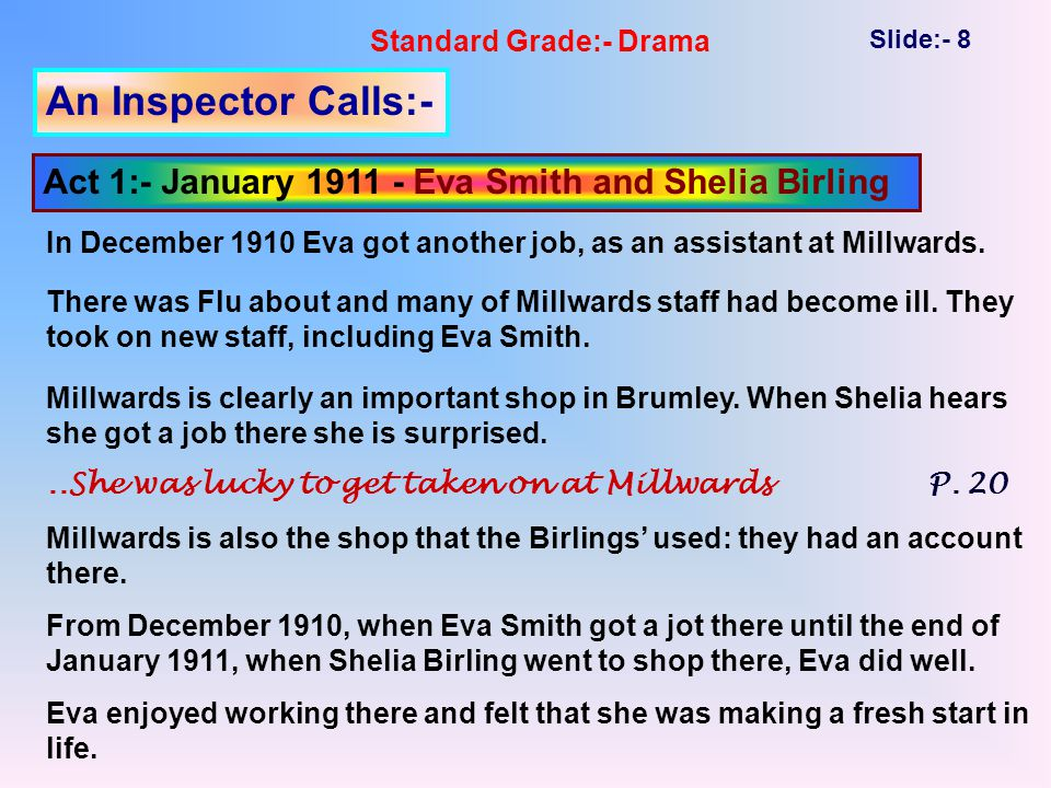 Standard Grade:- Drama Slide:- 8 An Inspector Calls:- Act 1:- January 1911 - Eva Smith and Shelia Birling In December 1910 Eva got another job, as an assistant at Millwards.