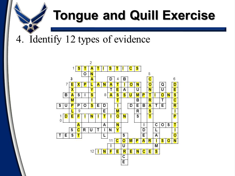 Tongue and Quill Exercise 4.Identify 12 types of evidence 2 1 STATISTICS ON 5 3 AD 4 BC 6 7 EXPLANATIONOQD XYTEAUNUE BASIS 8 ASSUMPTIONS MITBRTC SUPPO