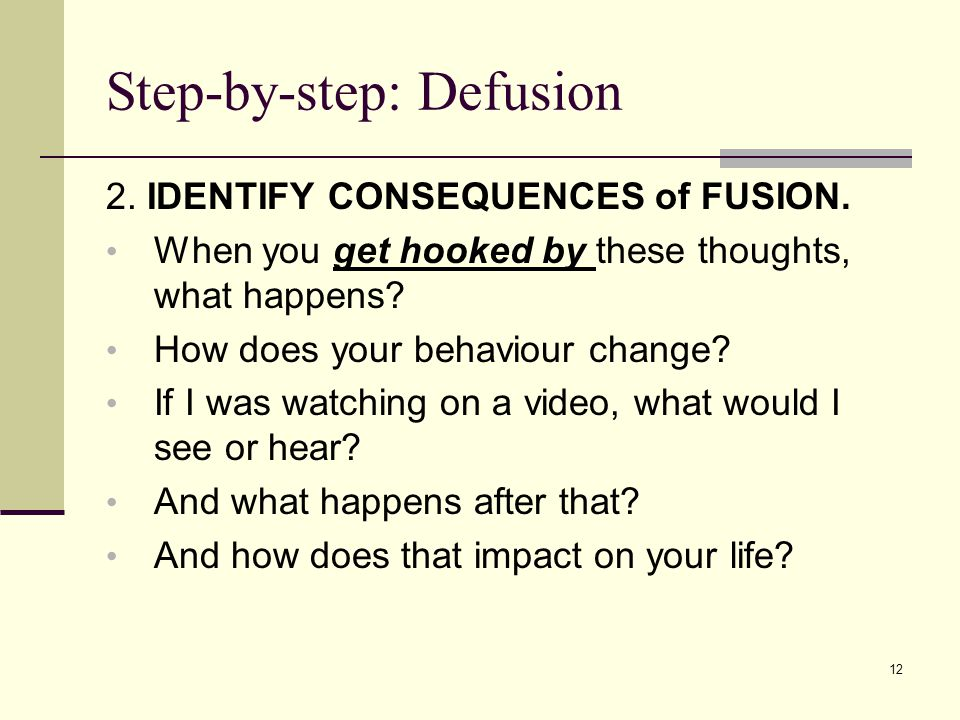 Step-by-step: Defusion 2. IDENTIFY CONSEQUENCES of FUSION.