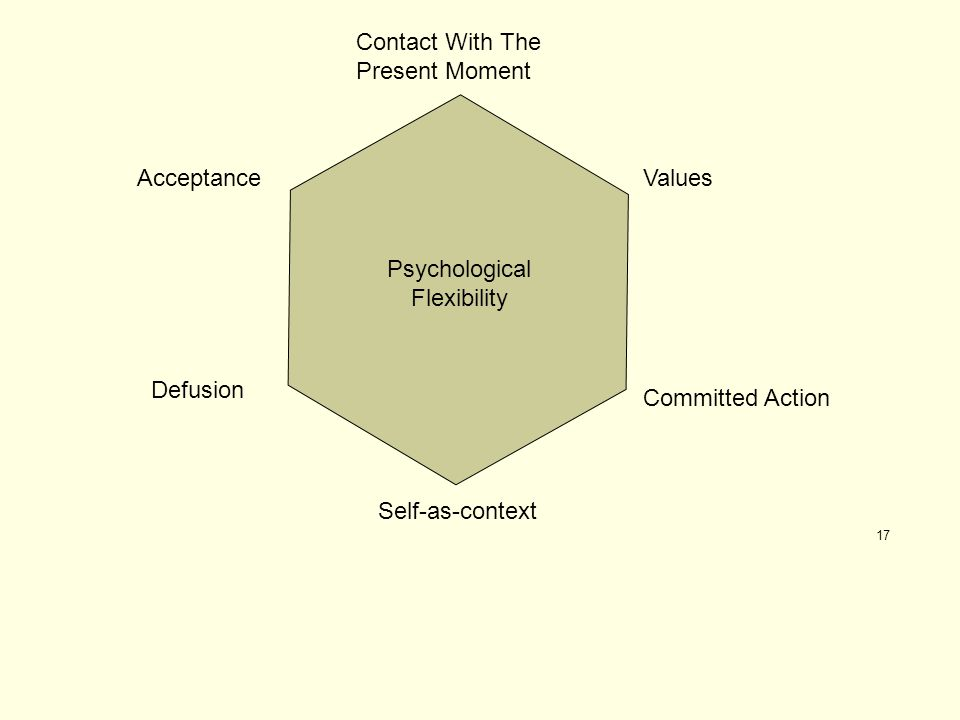 17 Psychological Flexibility Contact With The Present Moment Defusion AcceptanceValues Committed Action Self-as-context