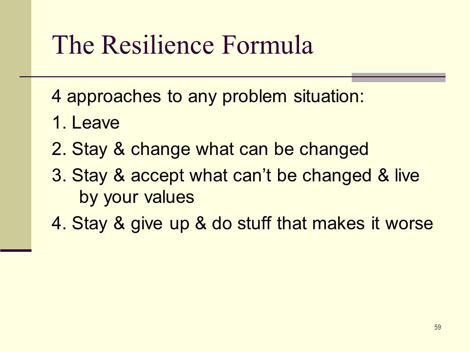 59 The Resilience Formula 4 approaches to any problem situation: 1.