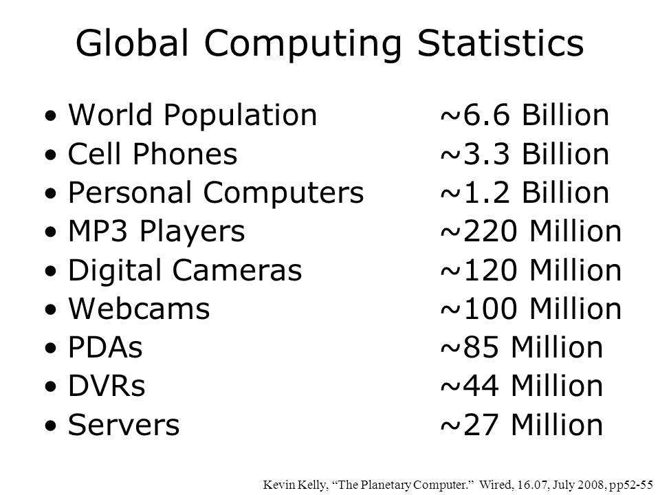 Global Computing Statistics World Population ~6.6 Billion Cell Phones~3.3 Billion Personal Computers ~1.2 Billion MP3 Players~220 Million Digital Cameras~120 Million Webcams~100 Million PDAs~85 Million DVRs~44 Million Servers~27 Million Kevin Kelly, The Planetary Computer. Wired, 16.07, July 2008, pp52-55