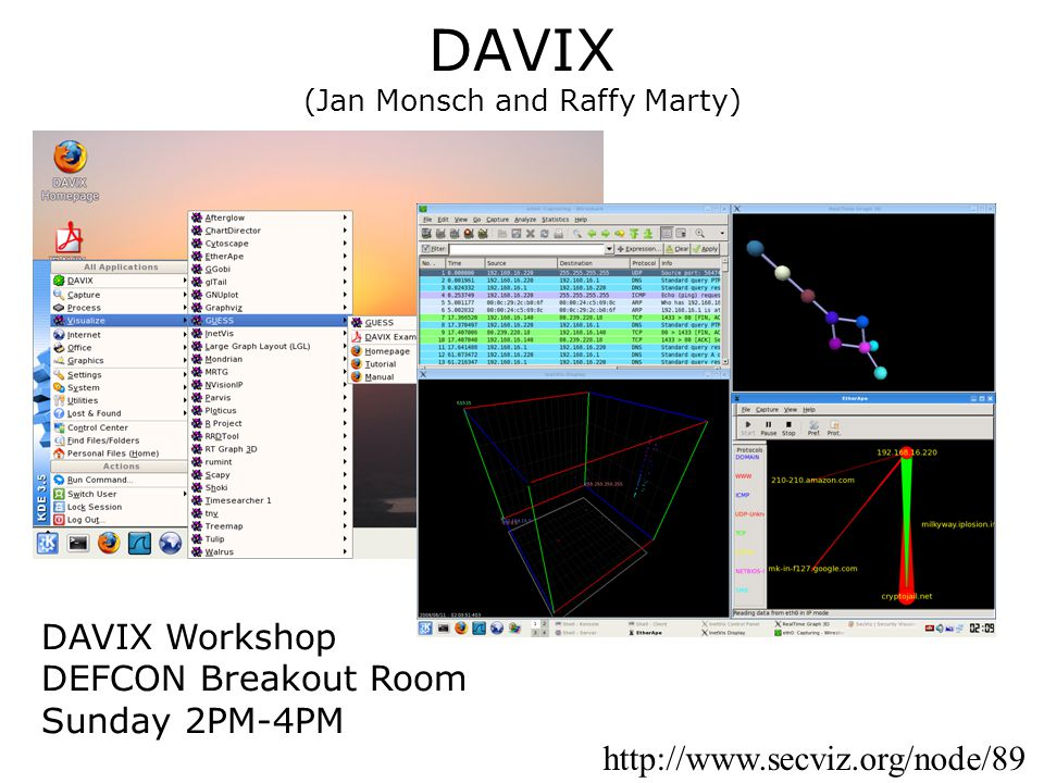 DAVIX (Jan Monsch and Raffy Marty) http://www.secviz.org/node/89 DAVIX Workshop DEFCON Breakout Room Sunday 2PM-4PM
