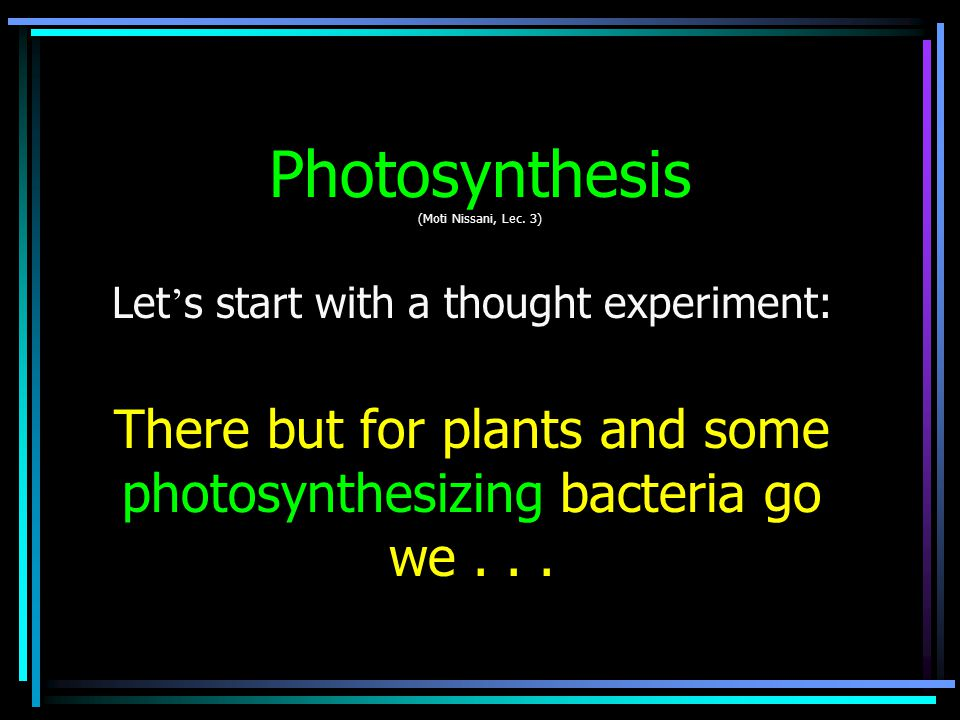 Why then Must we Have Plants and Other P-S creatures.