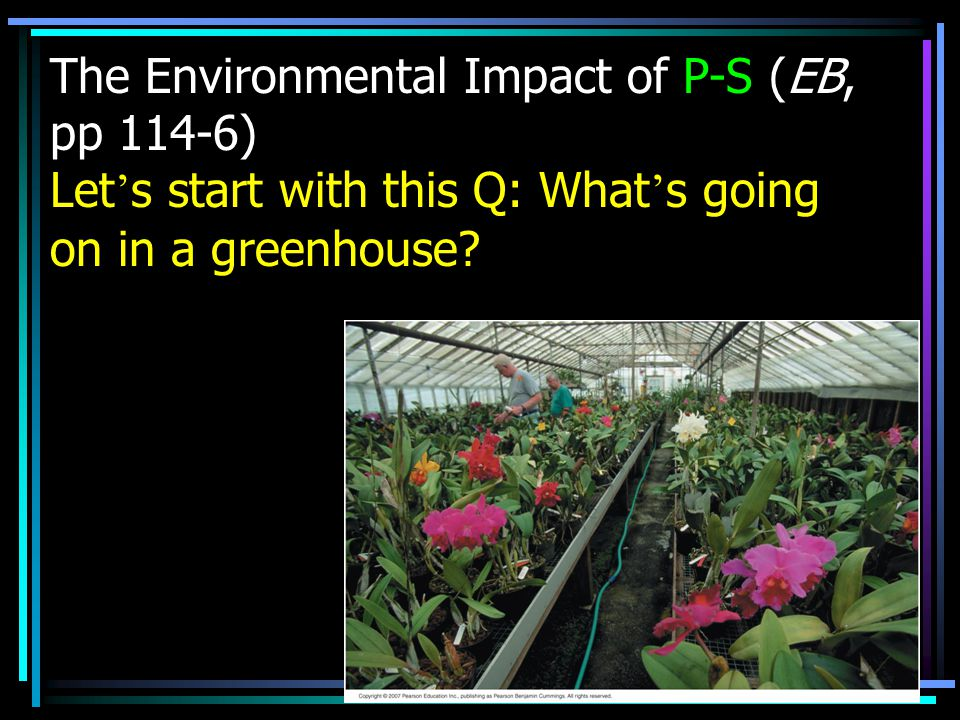 The Environmental Impact of P-S (EB, pp 114-6) Let ' s start with this Q: What ' s going on in a greenhouse?