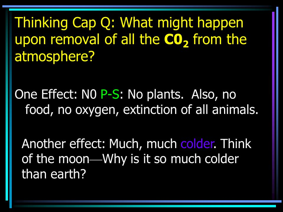 Thinking Cap Q: What might happen upon removal of all the C0 2 from the atmosphere.