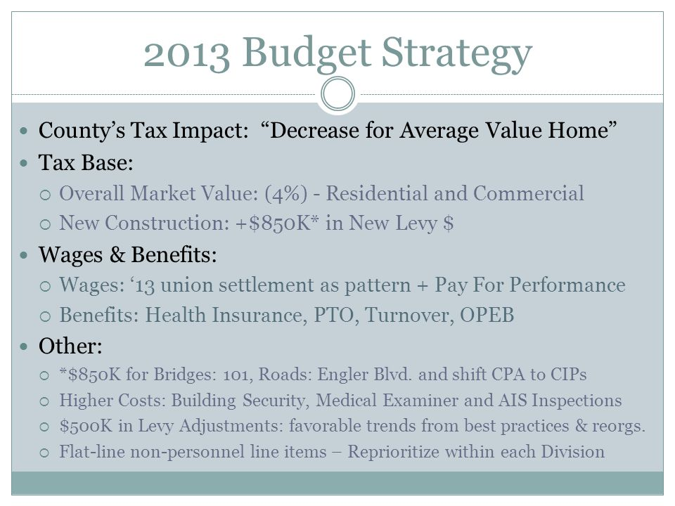 2013 Budget Strategy County's Tax Impact: Decrease for Average Value Home Tax Base:  Overall Market Value: (4%) - Residential and Commercial  New Construction: +$850K* in New Levy $ Wages & Benefits:  Wages: '13 union settlement as pattern + Pay For Performance  Benefits: Health Insurance, PTO, Turnover, OPEB Other:  *$850K for Bridges: 101, Roads: Engler Blvd.