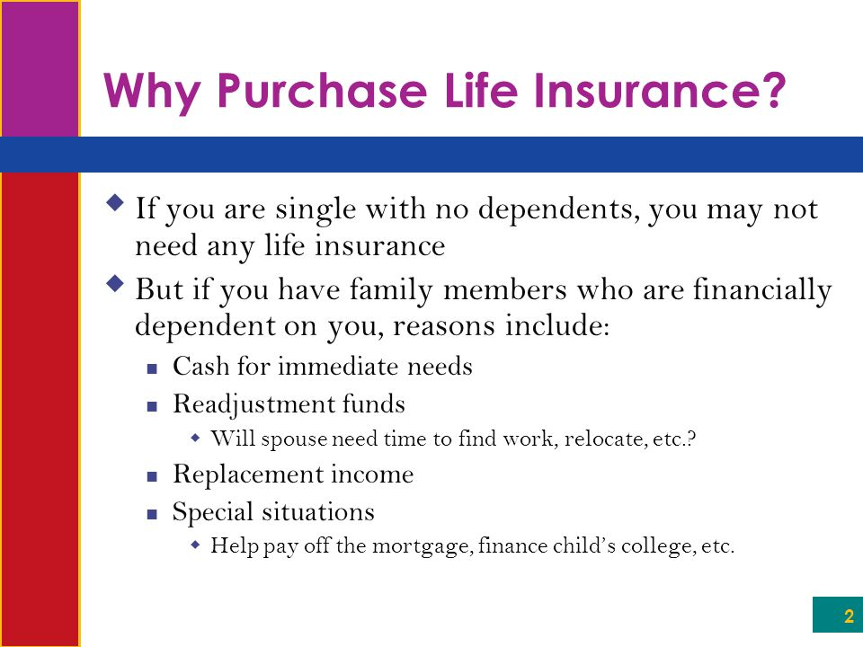 23 The Life Insurance Contract  Waiver-of-premium clause If you become disabled (or lose your job), the insurance company may waive the premium for some time period so that you don't lose coverage (and company doesn't lose client)  Guaranteed insurability clause Policyholder has right to purchase additional insurance without physical  Usually obtainable through age 40  Good idea for younger policyholders who can't afford premiums for additional insurance right now