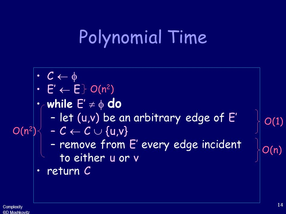 Complexity ©D Moshkovitz 14 Polynomial Time C   E'  E while E'   do –let (u,v) be an arbitrary edge of E' –C  C  {u,v} –remove from E' every edge incident to either u or v return C O(n 2 ) O(1)O(n) O(n 2 )