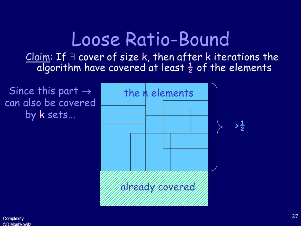 Complexity ©D Moshkovitz 27 the n elements Loose Ratio-Bound Claim: If  cover of size k, then after k iterations the algorithm have covered at least ½ of the elements Since this part  can also be covered by k sets...