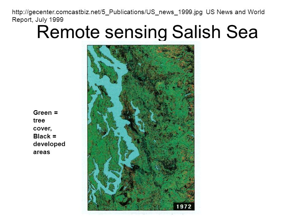 Remote sensing Salish Sea http://gecenter.comcastbiz.net/5_Publications/US_news_1999.jpg US News and World Report, July 1999 Green = tree cover, Black = developed areas