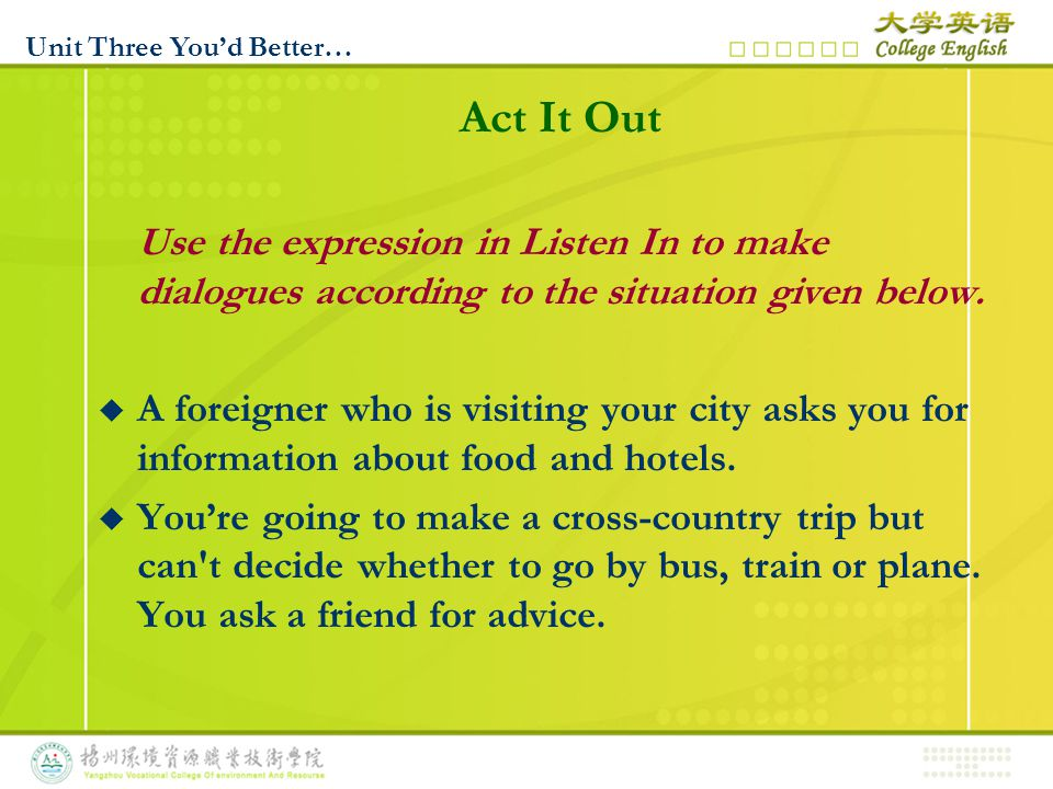 Act It Out Use the expression in Listen In to make dialogues according to the situation given below.