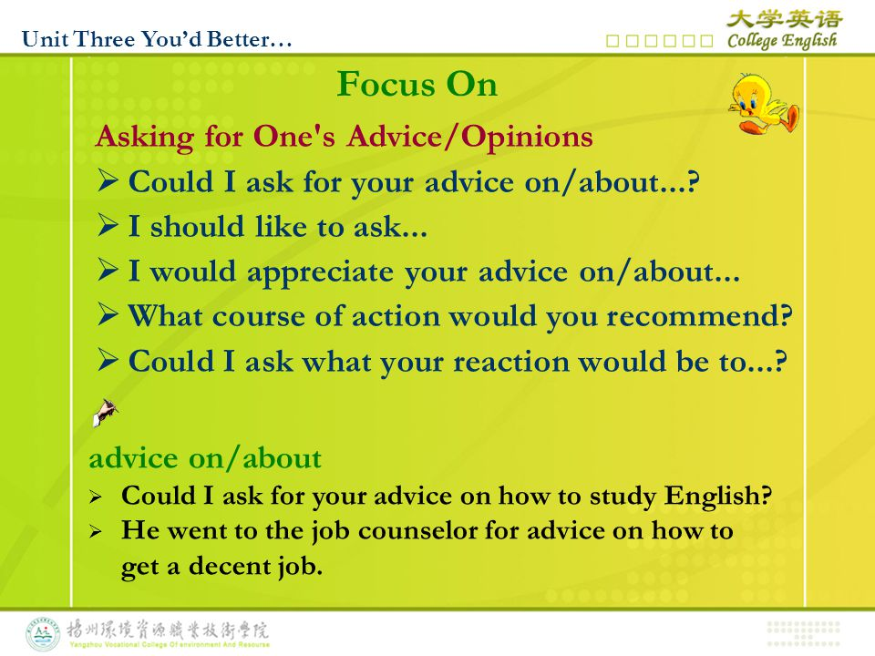 Giving One s Advice/ Opinions  I think you should/ought to...
