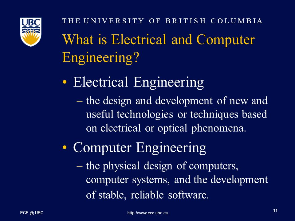 T H E U N I V E R S I T Y O F B R I T I S H C O L U M B I A ECE @ UBChttp://www.ece.ubc.ca 11 What is Electrical and Computer Engineering.