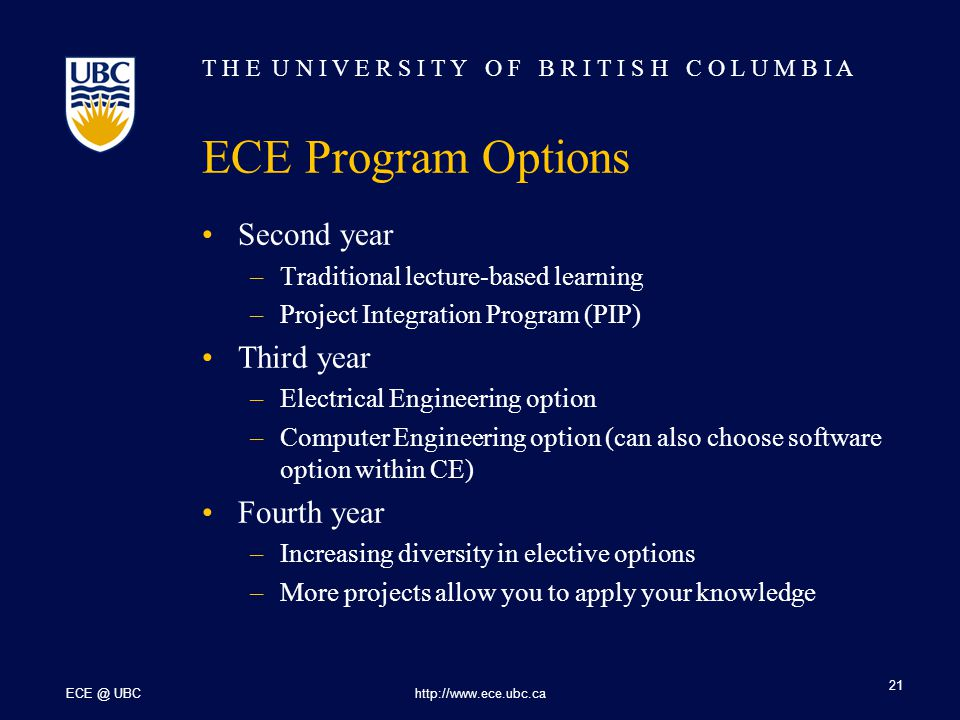 T H E U N I V E R S I T Y O F B R I T I S H C O L U M B I A ECE @ UBChttp://www.ece.ubc.ca 21 ECE Program Options Second year –Traditional lecture-based learning –Project Integration Program (PIP) Third year –Electrical Engineering option –Computer Engineering option (can also choose software option within CE) Fourth year –Increasing diversity in elective options –More projects allow you to apply your knowledge