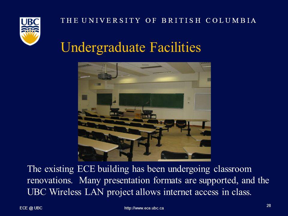 T H E U N I V E R S I T Y O F B R I T I S H C O L U M B I A ECE @ UBChttp://www.ece.ubc.ca 28 Undergraduate Facilities The existing ECE building has been undergoing classroom renovations.