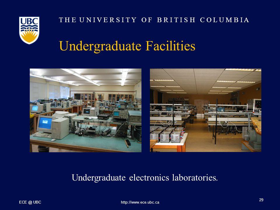T H E U N I V E R S I T Y O F B R I T I S H C O L U M B I A ECE @ UBChttp://www.ece.ubc.ca 29 Undergraduate Facilities Undergraduate electronics laboratories.