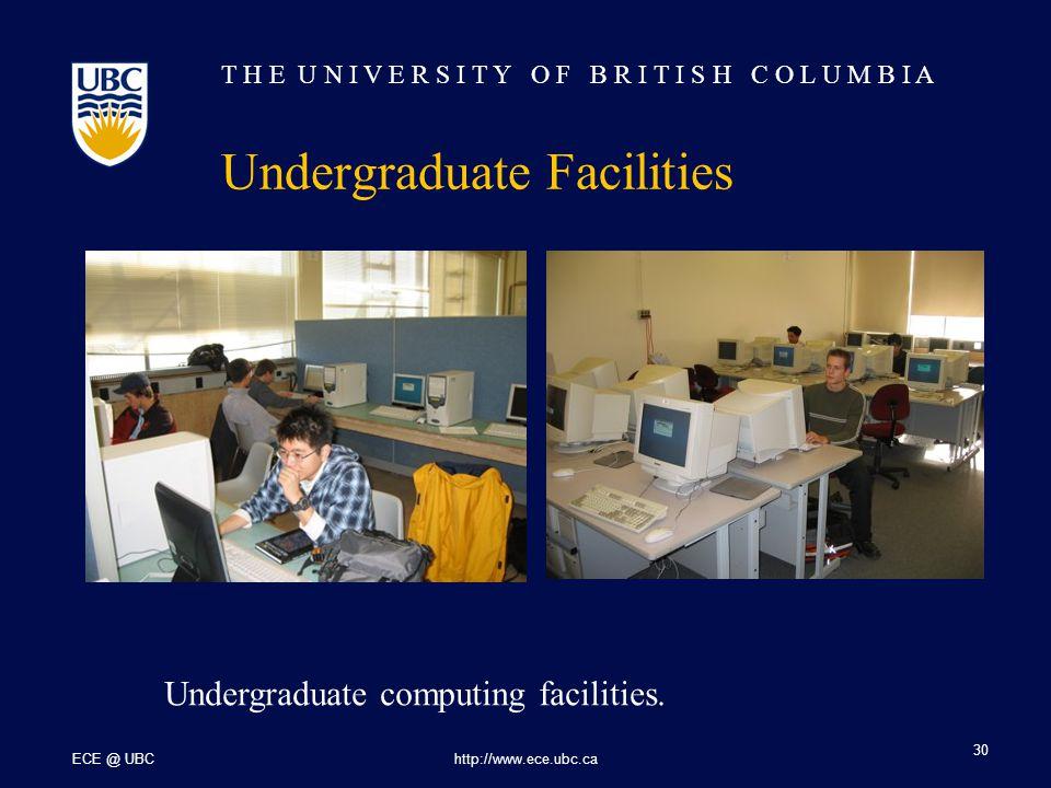 T H E U N I V E R S I T Y O F B R I T I S H C O L U M B I A ECE @ UBChttp://www.ece.ubc.ca 30 Undergraduate Facilities Undergraduate computing facilities.