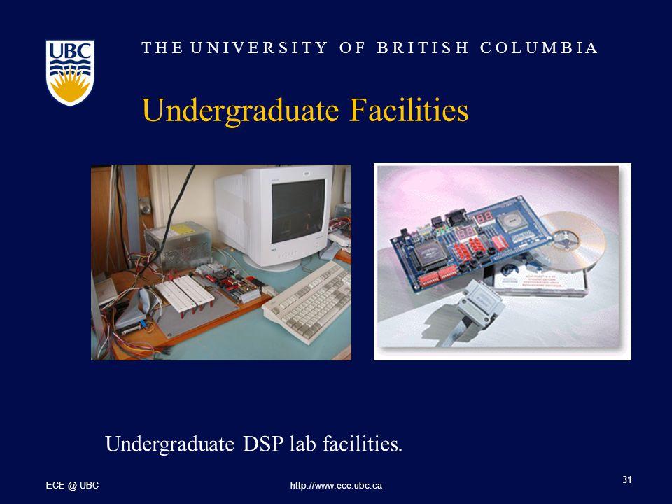 T H E U N I V E R S I T Y O F B R I T I S H C O L U M B I A ECE @ UBChttp://www.ece.ubc.ca 31 Undergraduate Facilities Undergraduate DSP lab facilities.