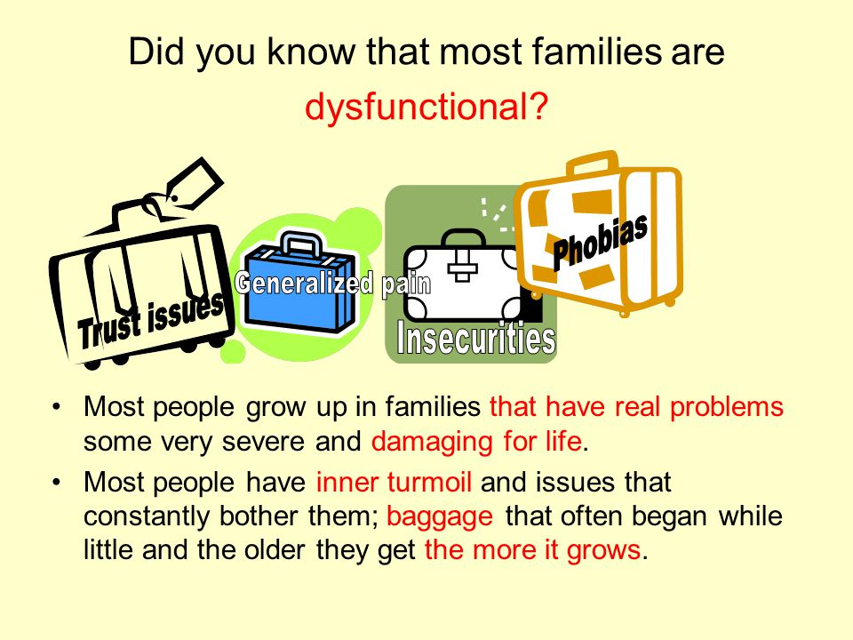 Did you know that most families are dysfunctional.