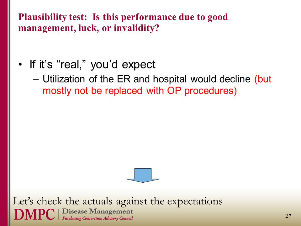27 Plausibility test: Is this performance due to good management, luck, or invalidity.